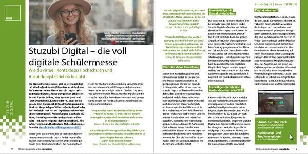 Stuzubi Magazin digitale Ausbildungsmesse 2021 Berlin - Messemagazin